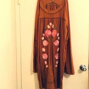 Xhiliration brown floral dress Long sleeve Sz 2x